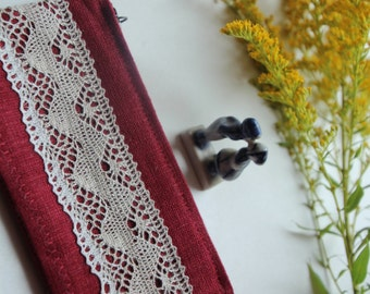Small Cherry Color Linen Lipstick Case - Small Cosmetic Bag with Linen Lace