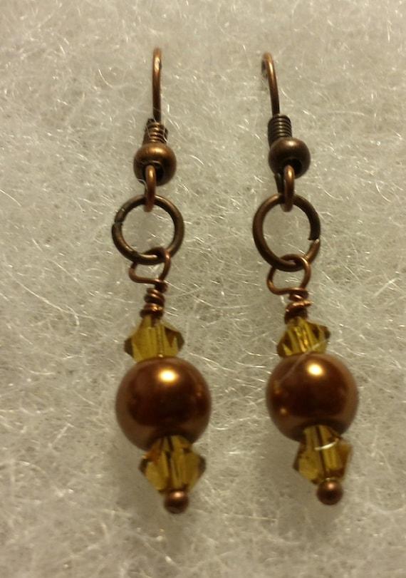 Copper Pearl Drop Earrings