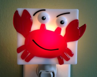 Fused Glass Happy Crab Night Light
