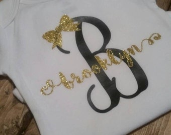 Custom Vinyl Personalized Name or Initials { With or without a ruffle} T-shirt or Bodysuit