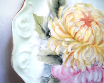 Antique Tray, Limoges France T&V, c. 1907, Pale Green w/HP Yellow Pink Mums, for Boudoir, Vanity, Display Collection, Gift Idea