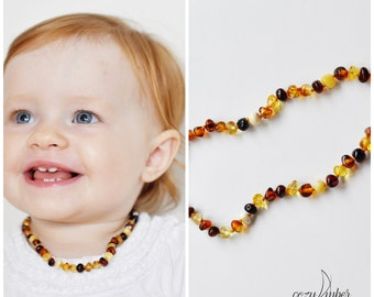 Baltic Amber beads teething NECKLACE BABY handmade knotted with safe clasp