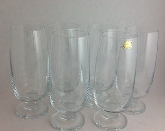 set of 6 high end bohemia crystal water goblets made in unique short stem