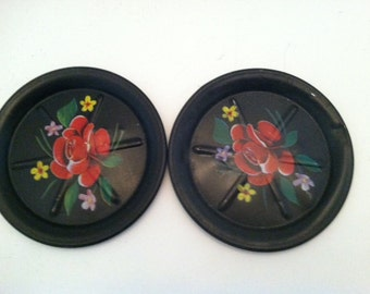 Set of 2 Tole Painting Coasters