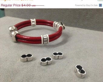 On Sale NOW 25%OFF Double Strand Separators For Up To 5Mm Round Leather Cord Antique Silver Z400 Qty 4
