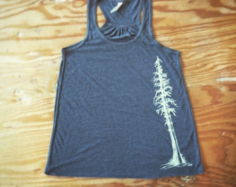 Redwood Tree Tank-Bella Canvas Racerback Woman's Tank Top-trees-sequoia-gifts for her-gifts for mom-redwood-redwoods