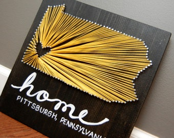 Nail string art etsy customized pennsylvania state pittsburgh city home string art nail art thread prinsesfo Image collections
