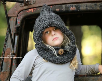 Kids cowl, kids hooded cowl, toddler cowl, baby cowl, adult cowl - baby to adult sizes available