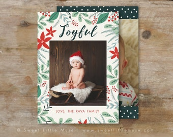 Holiday card template - 5x7 card template - christmas card template