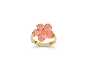 14k solid gold two tone plumeria ring, floral jewelry