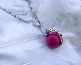 Pink Materia necklace - Final Fantasy - Materia Necklace - FF7 pendant - ff7 jewelry - Final fantasy jewelry - Final fantasy cosplay