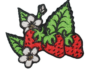 Strawberry With (LIGHT) Green Leafs Embroidered Iron On or Sew On Emblem, Patch Size craft