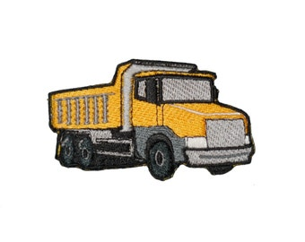 Iron on patch Dump Truck Construction Equipment applique Heavy Machinery Yellow craft