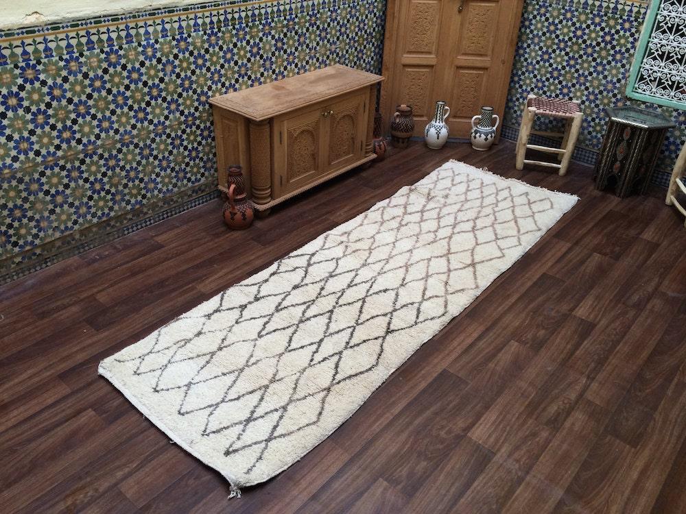 Hallway 9 foot long Berber kilim runner Handmade Beni