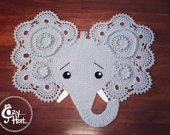 Elephant Rug. Hand Crocheted. Ready to Ship!