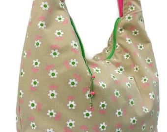 tan hobo bag - hobo bag - green hobo bag - beige hobo bag - large hobo bag with zipper - festival purse - hippie purse - handmade purse