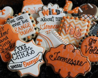 Tennessee vols cookies, university of Tennessee, custom cookies, tailgating cookies, football cookies, Super Bowl party cookie favors