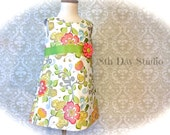 Girls Easter Dress, Toddler Easter Dress,  A-line Floral, Special Occasion Dress, Sizes 2T - 8 by 8th Day Studio