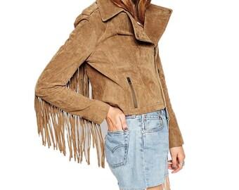 Faux Suede Fringe Jacket
