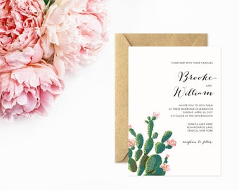 Cactus Wedding Invitations, Painted Wedding Invitations with Cactus and Pink Flowers, Response Card