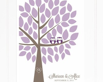 Wedding Guest Book Tree - Owl Guest Book Alternative for 50 Guests - Purple Owl Signature Tree