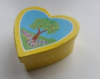 HEART Gift Box/Trinket Box - Summer Tree - Yellow Heart Box