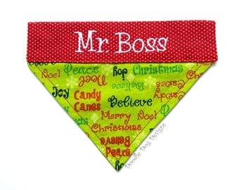 """Personalized Dog Bandana/ Holiday Dog Bandana/ Christmas Dog Bandana/ Over the Collar Dog Bandana/ """"Christmas Words"""""""