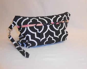 Black and White Geometric Print Diaper Clutch with Changing Pad