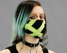 DSF Color Stripe Mask Surgical Respirator Black and neon Red Orange Yellow Green Blue Purple Pink White Brown Black Cybergoth Cyberpunk