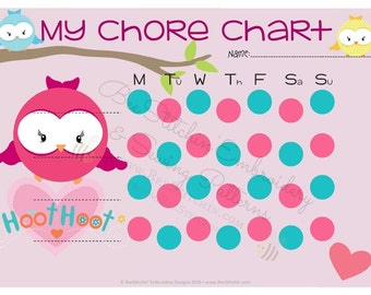Hoot Hoot Owl Chart PRINTABLE - INSTANT DOWNLOAD