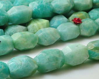 15 inches of Natural Amazonite faceted nugget beads in 12-13mm width X 16-18mm length