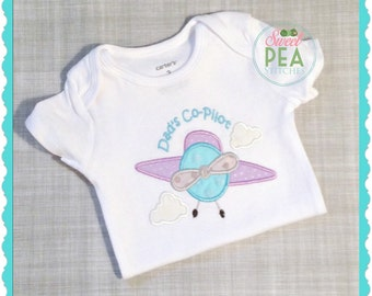 Dad's Co Pilot Shirt, Bodysuit, Tee,Infant Gown - Embroidered Shirt - Airplane Shirt - Baby Shower Gift