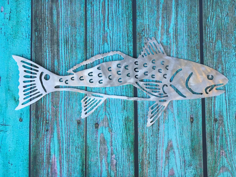 Red Fish Metal Beach Home Decor Wall Patio Garden Art