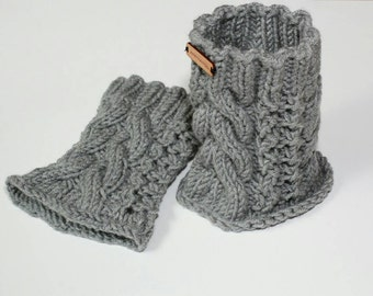 Boot cuffs, leg warmers, knit chanky ankle warmers, leg warmers in gray color, ankle boot covers, chunky cable knit ankle warmers.