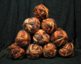 100% Wool Yarn: by palette collection, all 10 skeins, peach melba, shades of autumn, oranges browns yellows (3022)