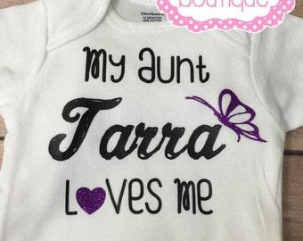 My aunt loves me children's shirt. My aunt loves me infant body suit. Personalized children's shirt.