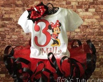 Minnie tutu, Minnie birthday, Minnie Mouse tutu, Minnie Mouse Birthday outfit, Minnie mouse shirt, Red Minnie mouse, Minnie Mouse Birthday