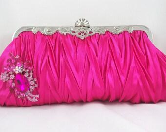 Pink Clutch, Hot Pink Crystal Handbag, Evening Clutch, Brooch Clutch, Bridesmaid Clutch, Pink Handbag, Pink Prom Clutch, Swarovski Clutch