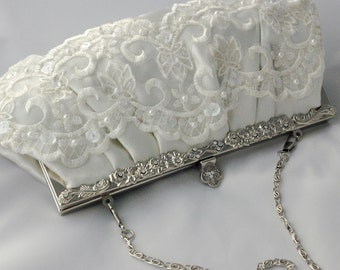 Lace Bridal Clutch, Ivory Satin and Lace Bridal Handbag, Wedding Clutch Bag, Sequin and Pearl Bridal Clutch, Ivory Bridal Clutch Formal Bag