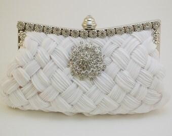 White Bridal Handbag, Weaved Taffeta Satin Bridal Clutch, Wedding Clutch Crystal Brooch White Bride Clutch Bag Bride Clutch Swarovski Clutch