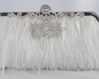 Ostrich Feather Bridal Clutch in White - Feather Wedding White Handbag With An Oblong Crystal Brooch - Ostrich Feather Bridal Accessories