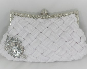 White Bridal Clutch, Bridal Handbag, Crystal Wedding Handbag, Brooch Clutch, White Braided Lattice Clutch Bag, Satin White Bridal Purse