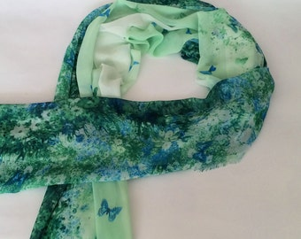 Green Floral Chiffon Scarf With Butterfly Print - Green Floral Chiffon Scarf - Thanksgiving Gift Headpiece - Green Floral Headpiece