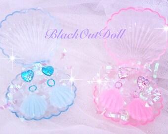 Mermaid Harajuku Fairy Kei Decora Seashell Clam Iridescent Ocean Sea Earrings