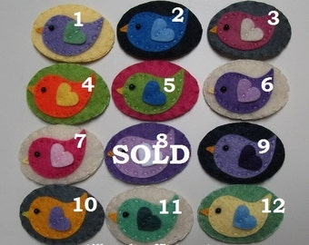 Handmade Felt Hair Clip-Colourful Birds.Stocking Stuffer/Filler,Party Favor,Secret Santa Gift,Wedding Or Bridal Shower Gift.