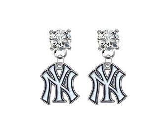 New York Yankees Crystal Post Stud Dangle Earrings (Pick Your Colors - Mix or Match Team Colors) Baseball
