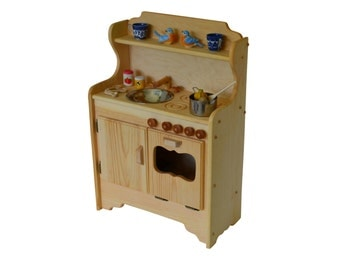 Natural Wooden Play Kitchen- Toy kitchen- Waldorf Kitchen-Montessori Stove- Pretend Play- Wooden Toy- Play Food- Child's Kitchen- Play Stove