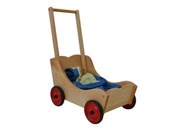 Wooden-Doll Pram-Wooden Toy Pram-Hardwood Doll Pram-Doll Pushcart-Wooden Dolls Push Wagon-Wooden Wagon-Children's Hardwood Wagon-Wood Pram