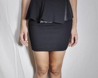 PEPLUM LEATHER SKIRT - Vegan Leather Mini Skirt
