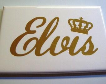 Elvis the King - Gold Foil Refrigerator Magnet, Mylar covered - Elvis with Crown - White or Black Background